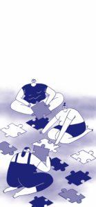 drei Menschen legen gemeinsam ein Puzzle